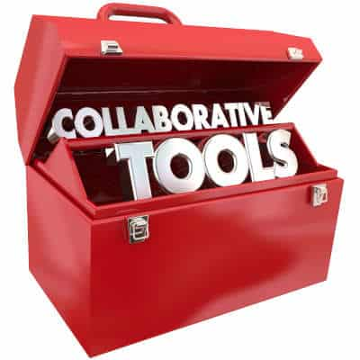 """Red toolbox that says """"Collaborative Tools"""""""