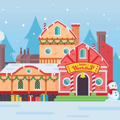 Illustration of Santa's workshop