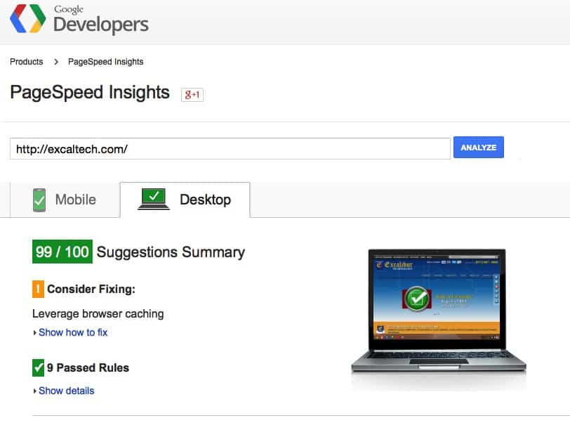 Google PageSpeed Insights - ExcalTech Passes with flying colors