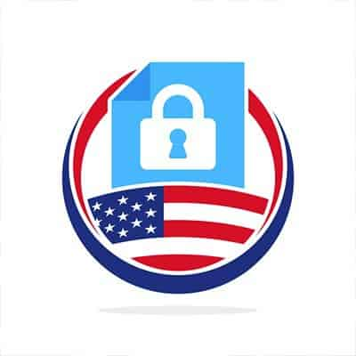 Concept Art: padlock above an American flag