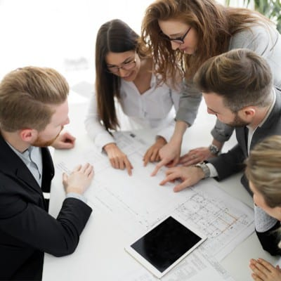 Business team discussing a diagram