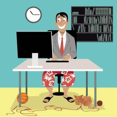 Remote worker wearing colorful shorts