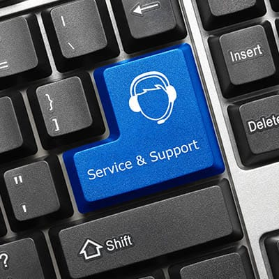 Key on a computer keyboard that says Service & Support